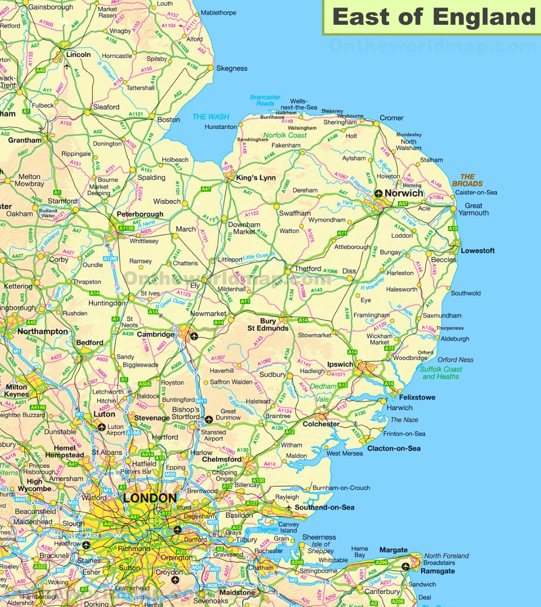 Map East Of England.Map Of East Of England