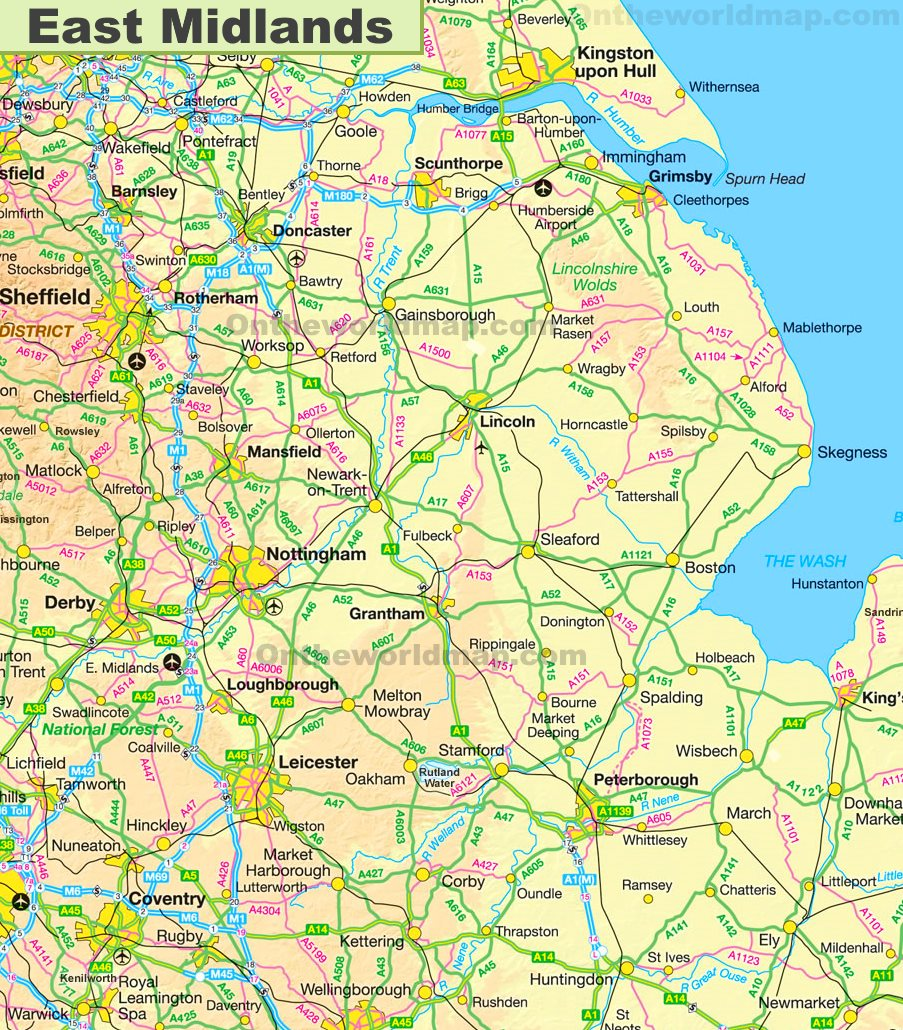Map Of East Uk.East Midlands Map