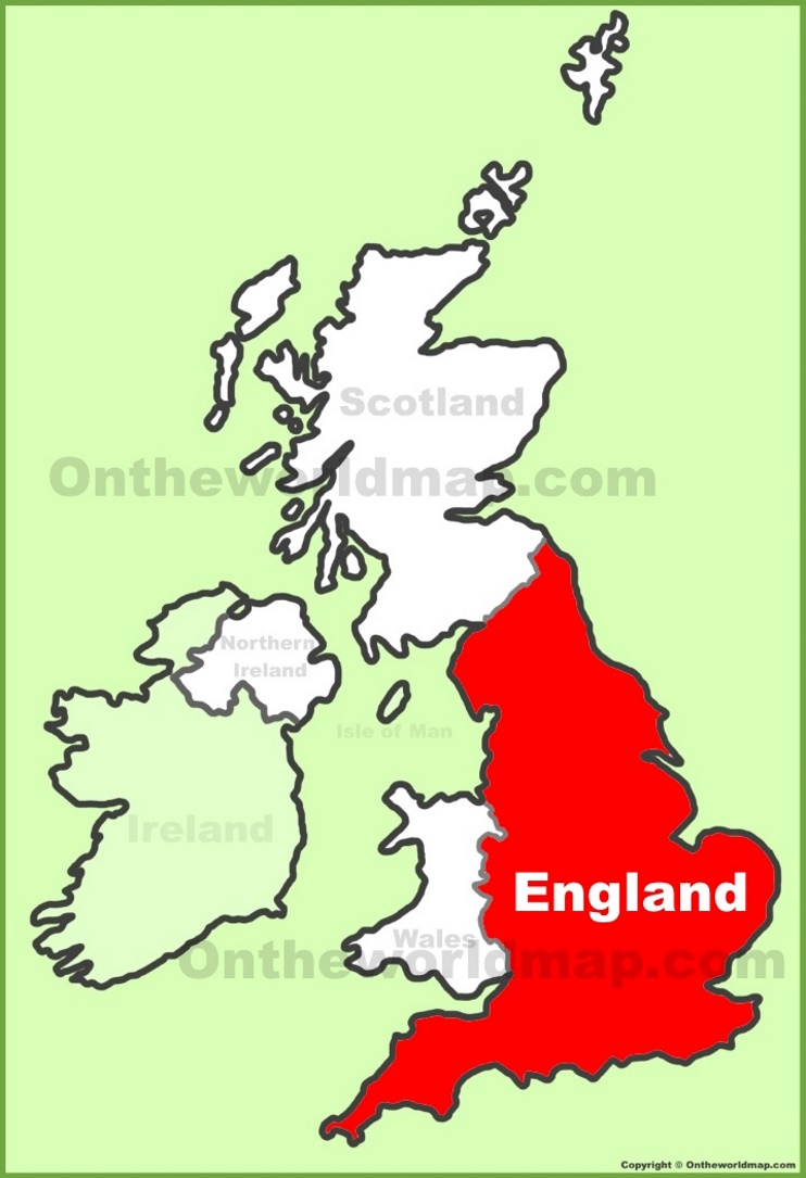 England Location On The Uk Map
