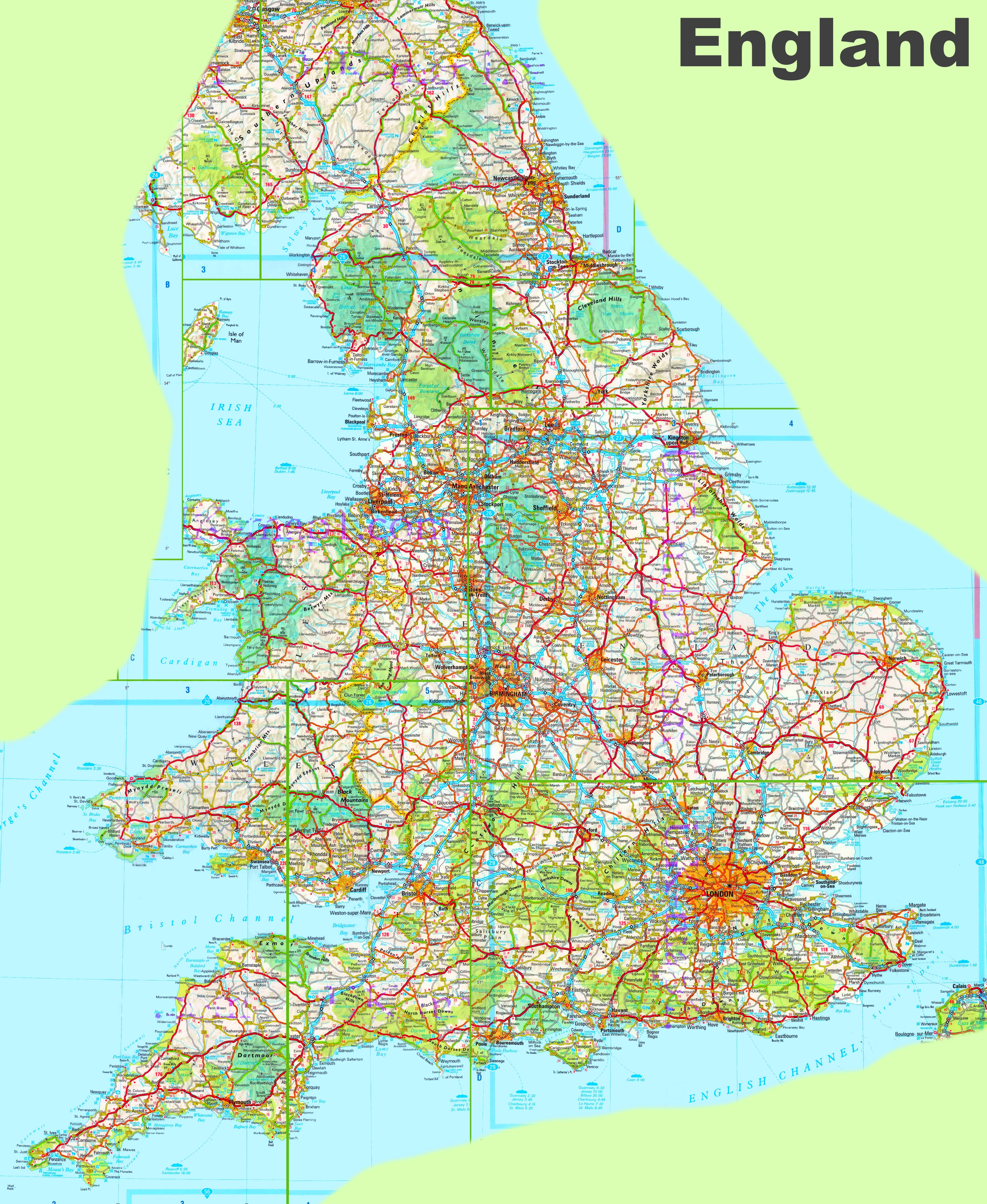 Detailed Map Of Uk Large detailed map of England