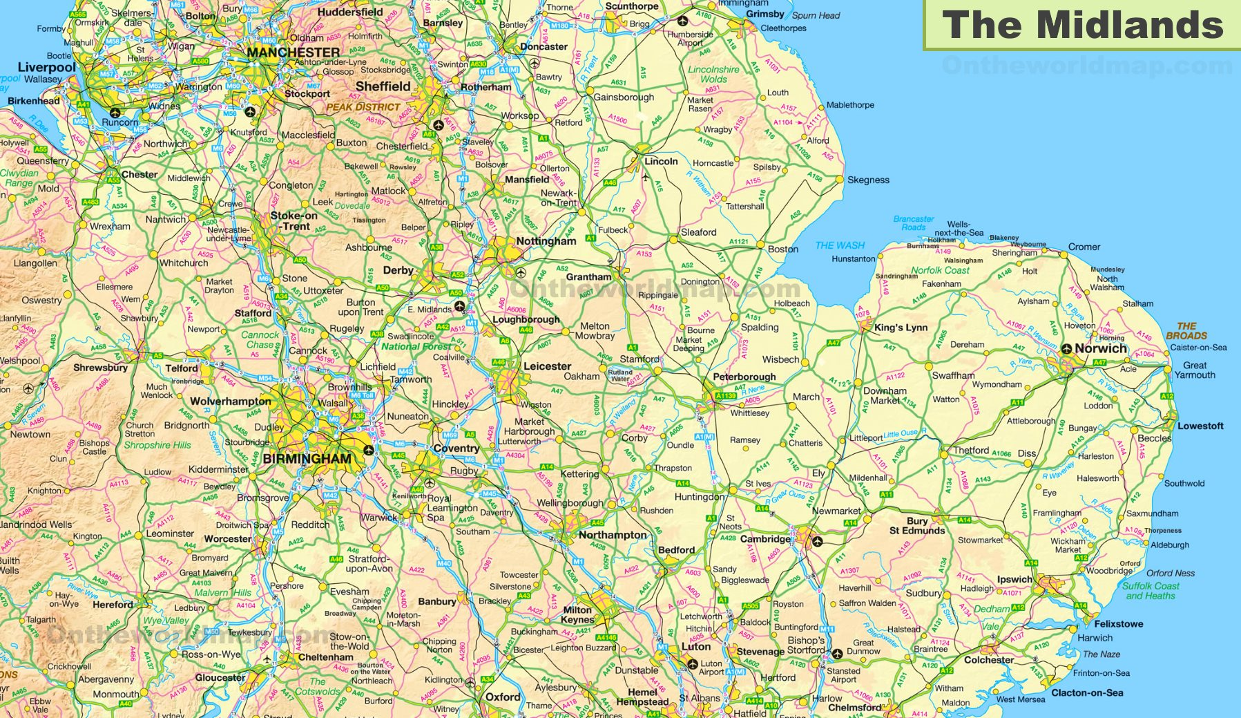 Map Of Uk Midlands.The Midlands Map
