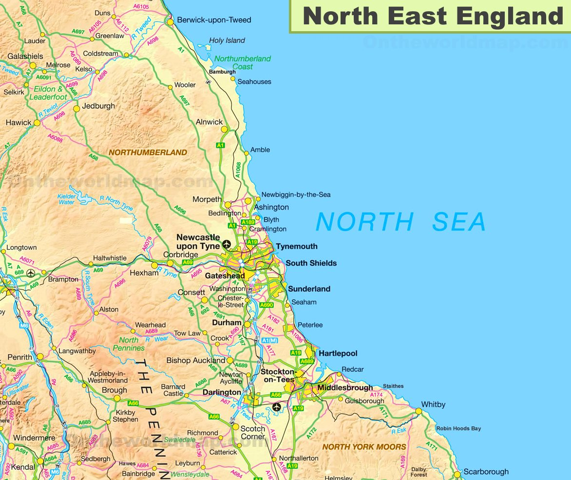 Map Of Northern England Cities.Map Of North East England