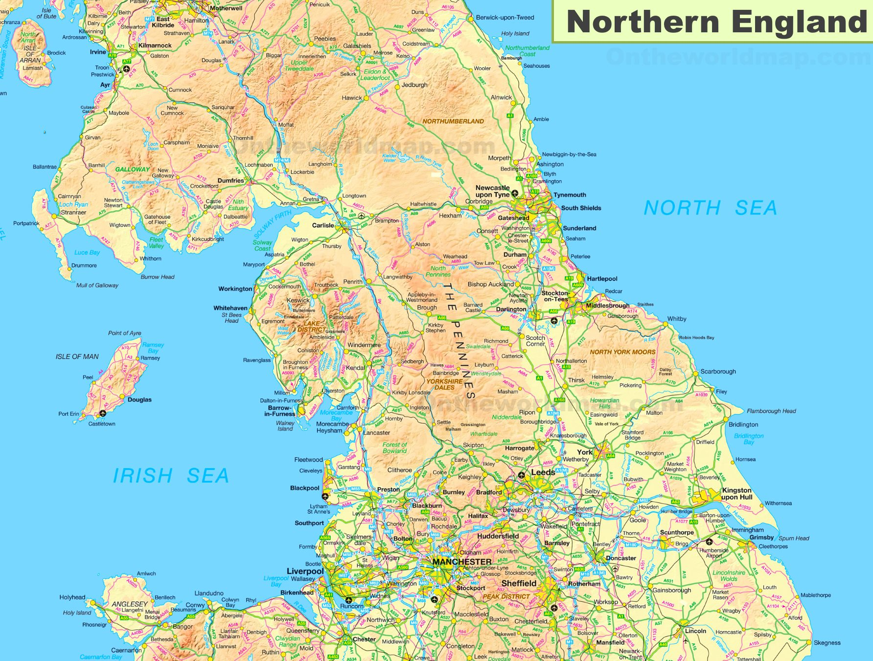 North Of England Map.Map Of Northern England