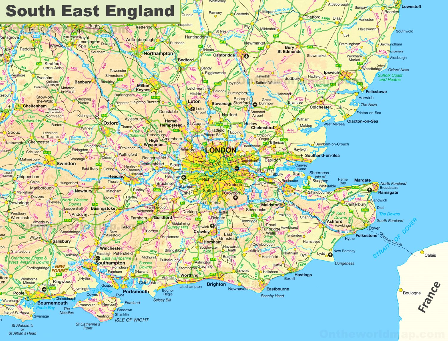 South East Map Map of South East England