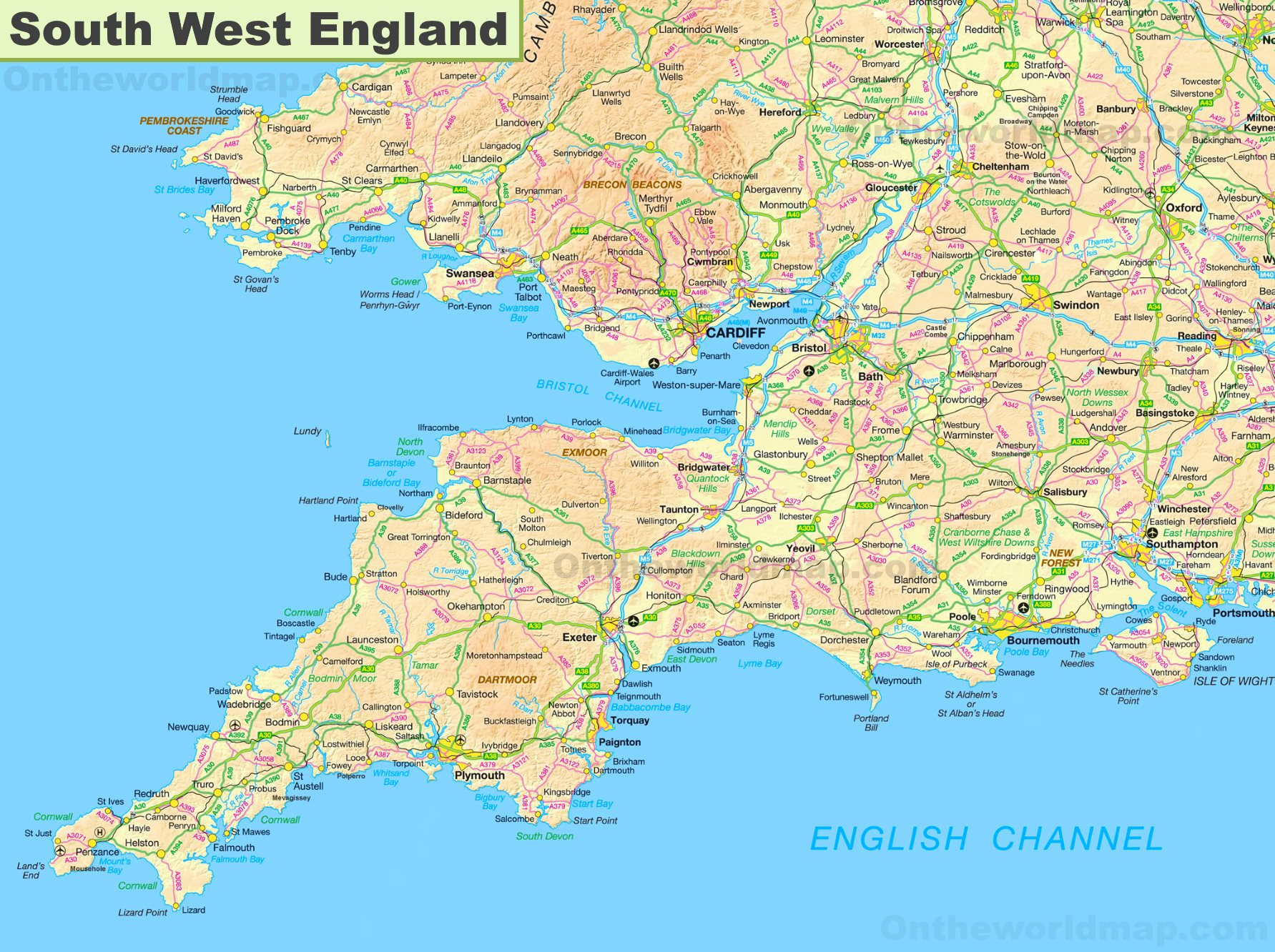 Map Of South West Map of South West England