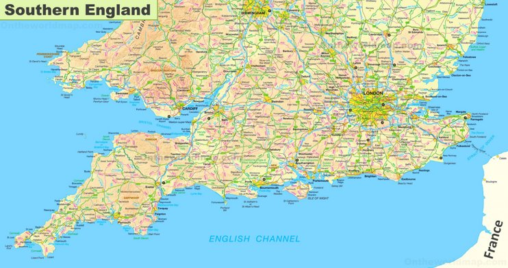 Map of Southern England