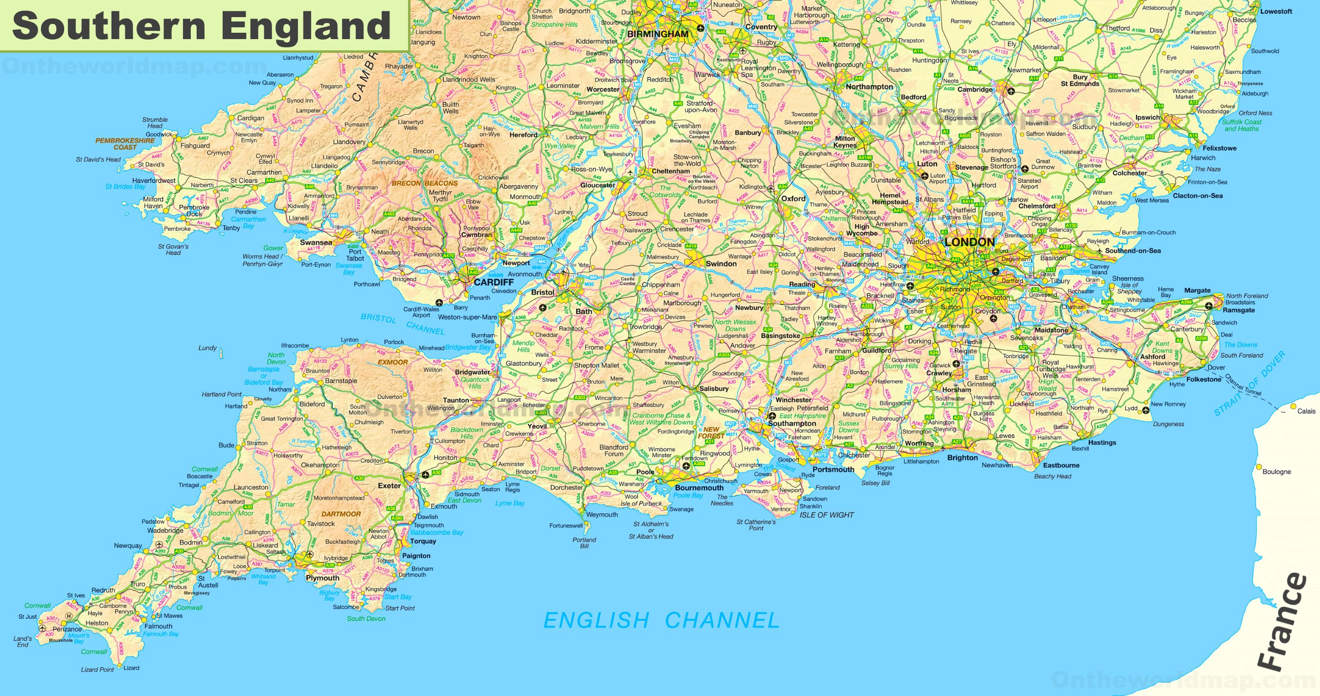 Map Of South England.Map Of Southern England