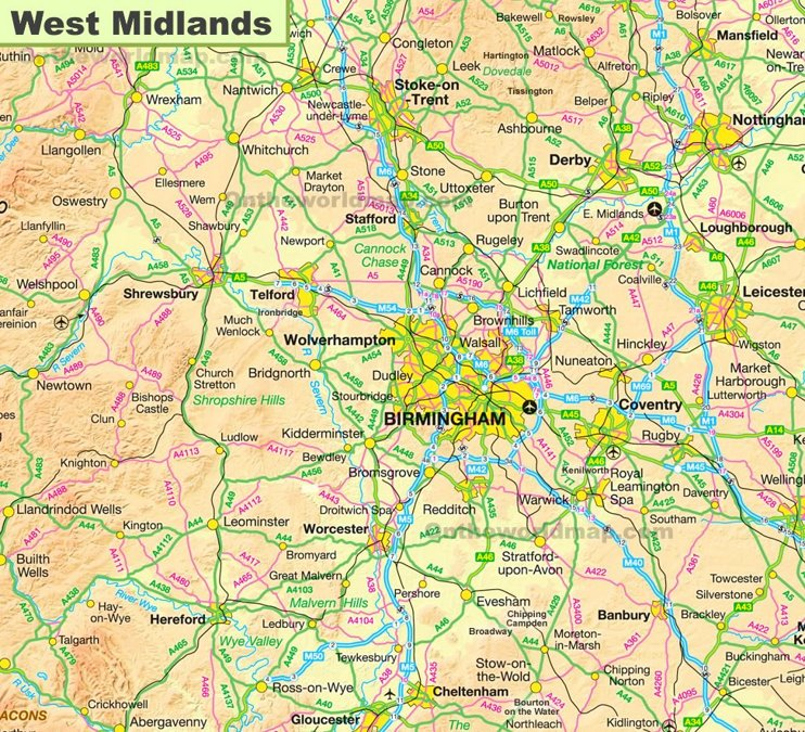 West Midlands Map
