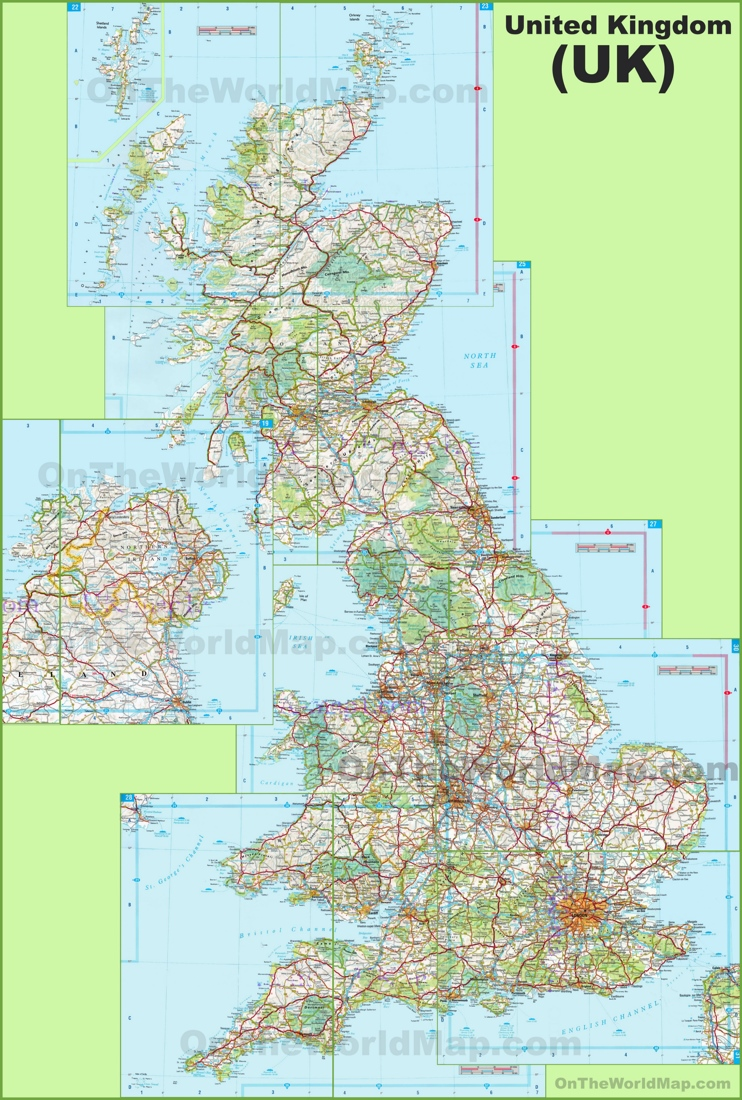 Large detailed map of UK with cities and towns