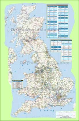 Large detailed road map of UK