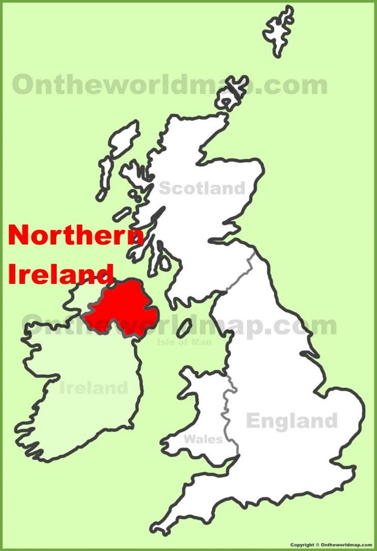 Northern Ireland location on the UK Map