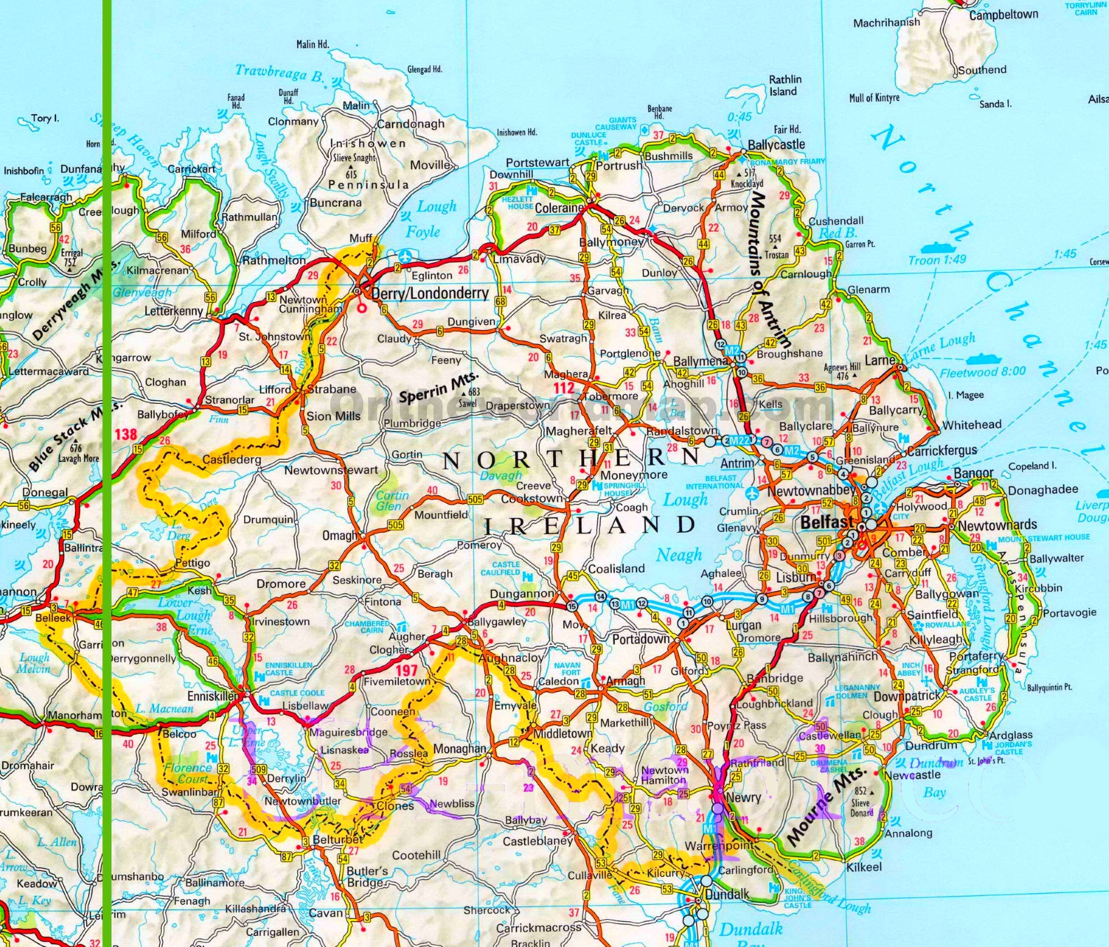 Map Of Ireland Northern Ireland.Northern Ireland Road Map