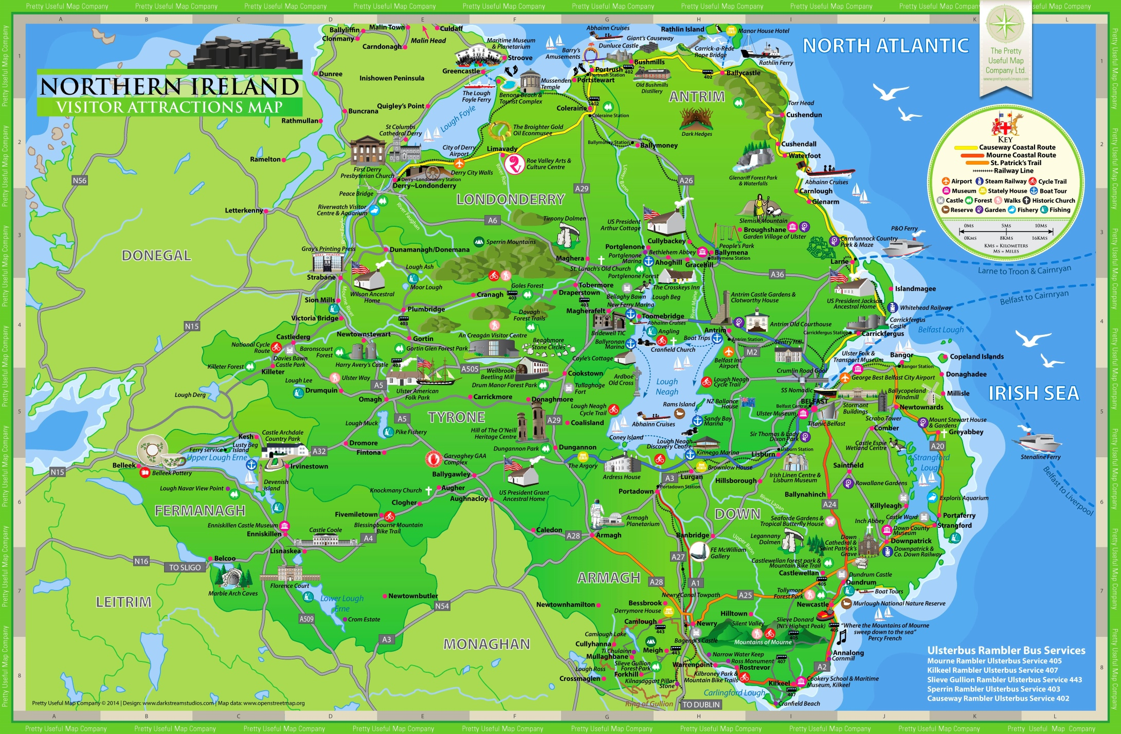 Northern Ireland Tourist Map