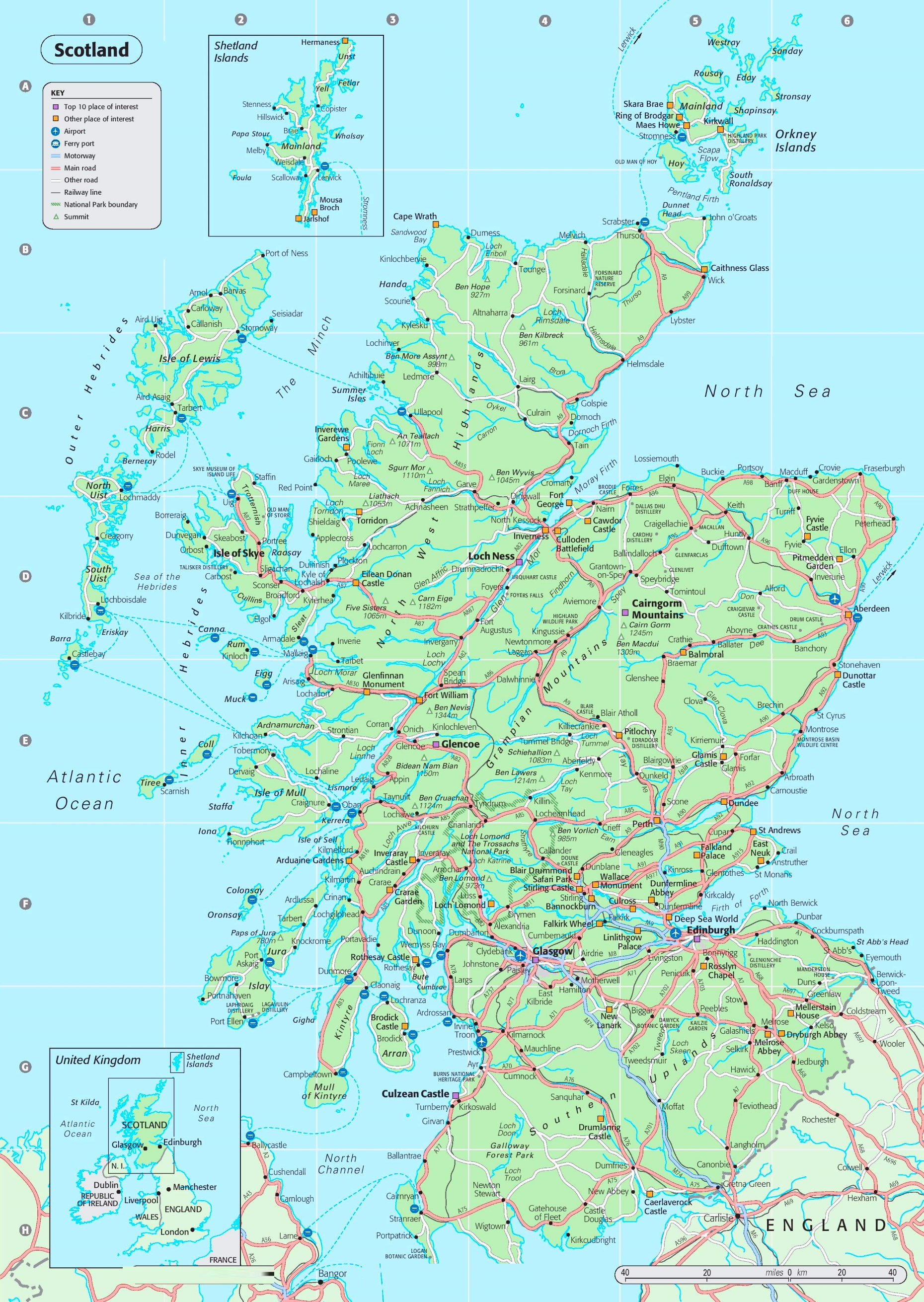 Map Of North England And Scotland.Detailed Map Of Scotland