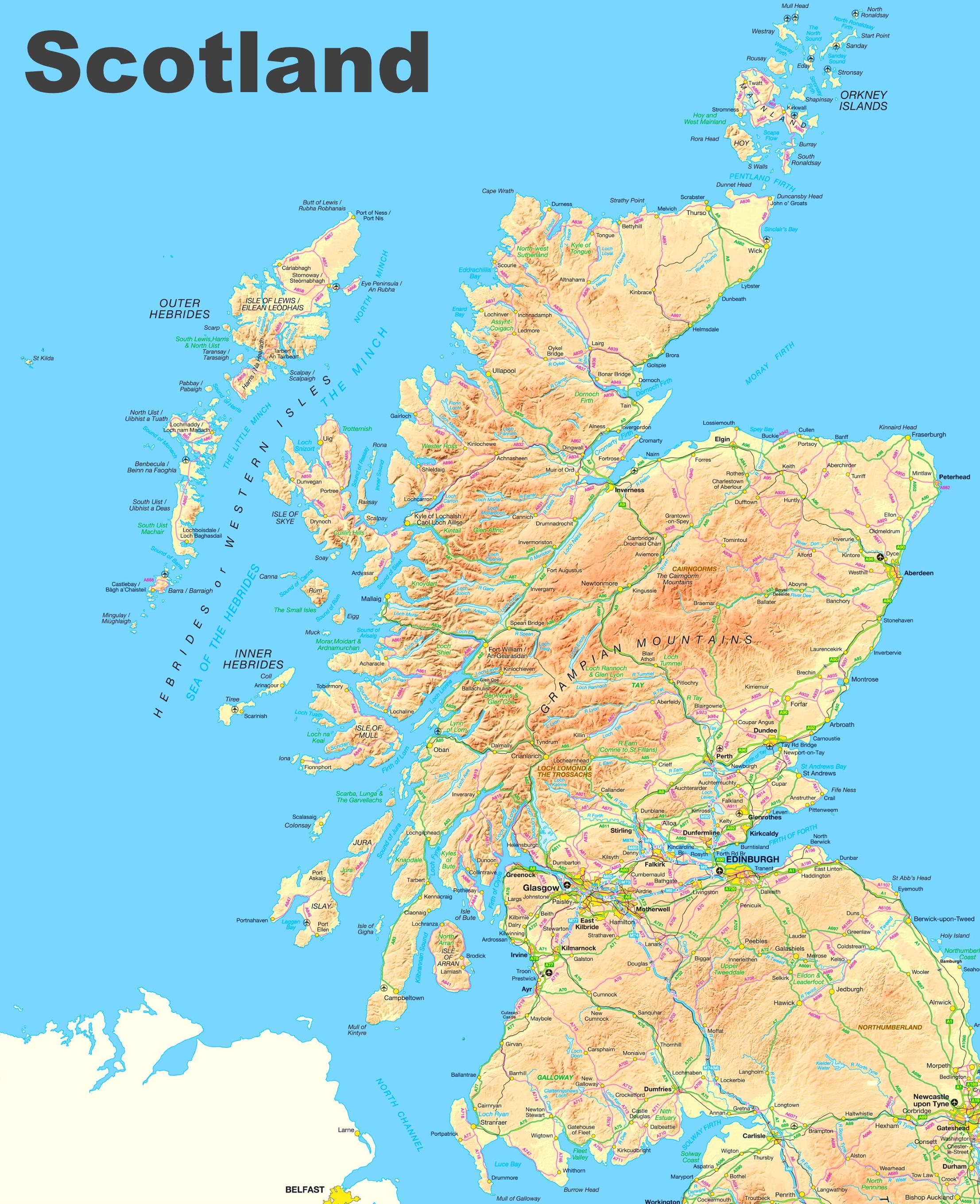 Map Of Scotland Scotland road map Map Of Scotland
