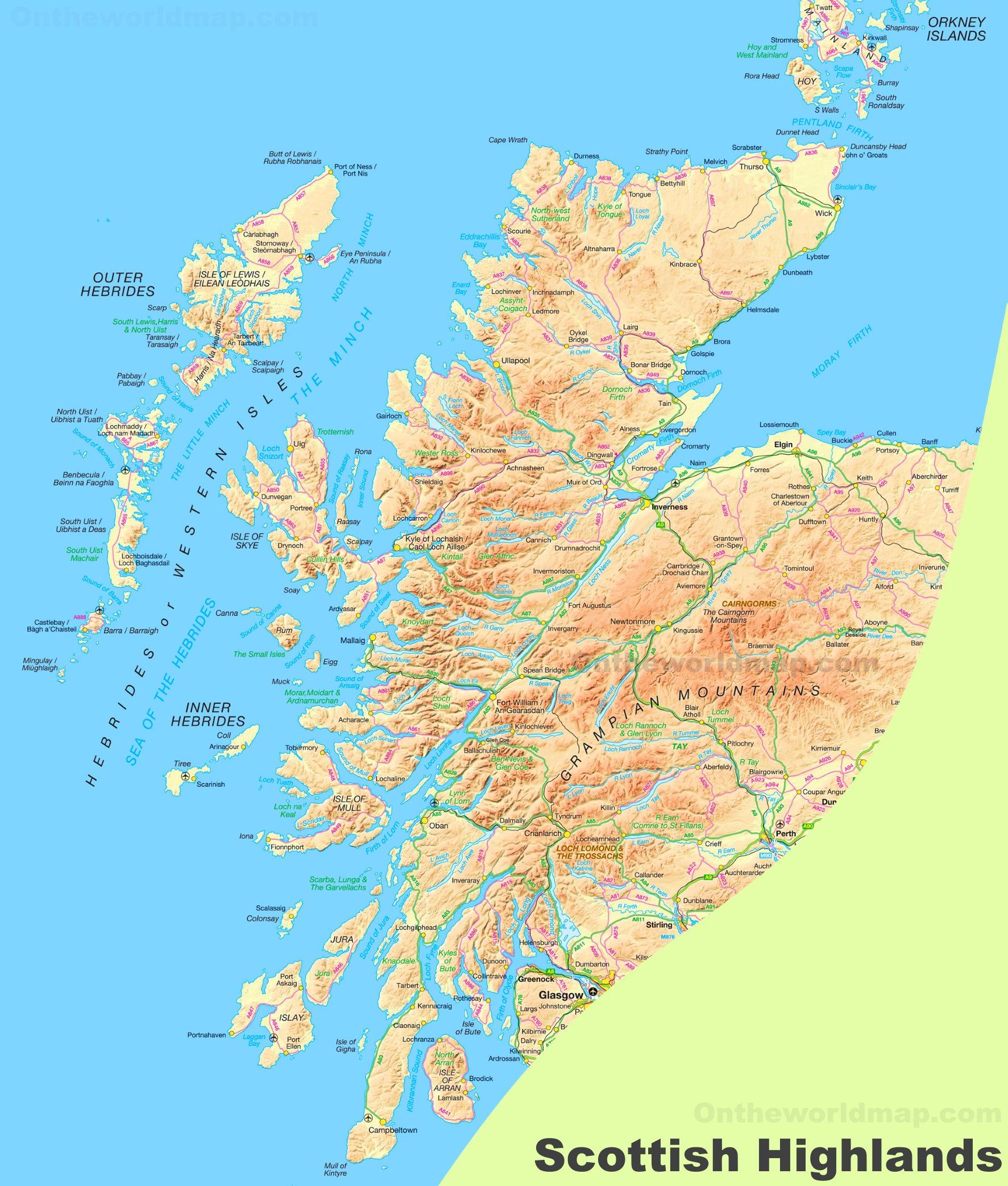Map Of Uk Highlands.Scottish Highlands Map