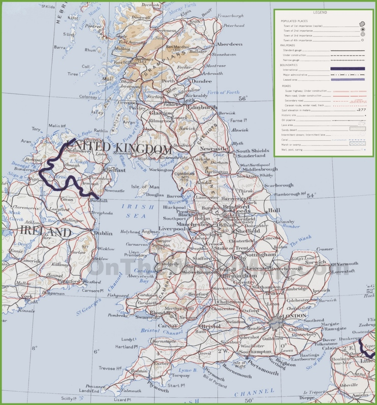 Topographic map of UK