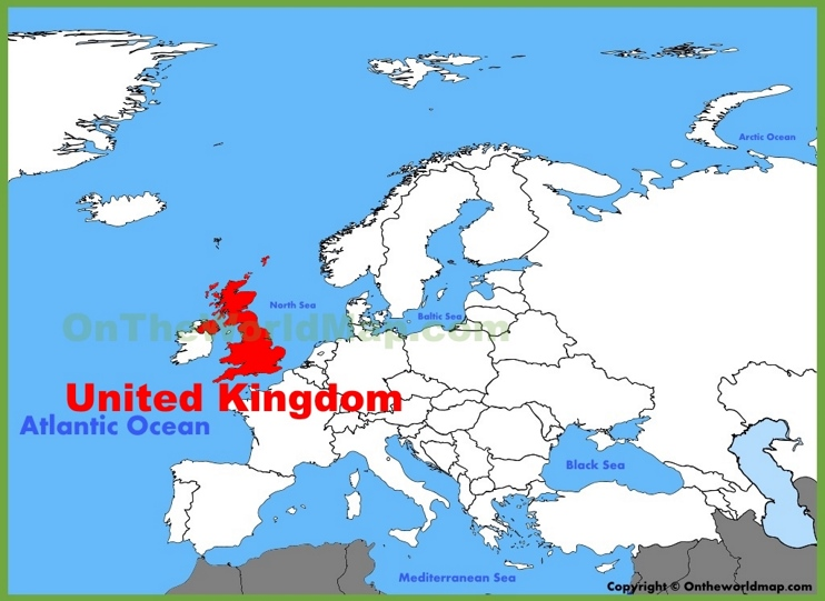 UK location on the Europe map