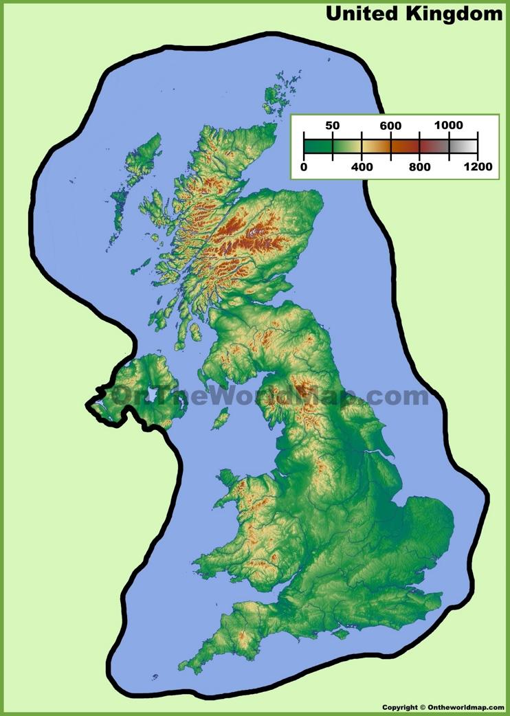 UK physical map