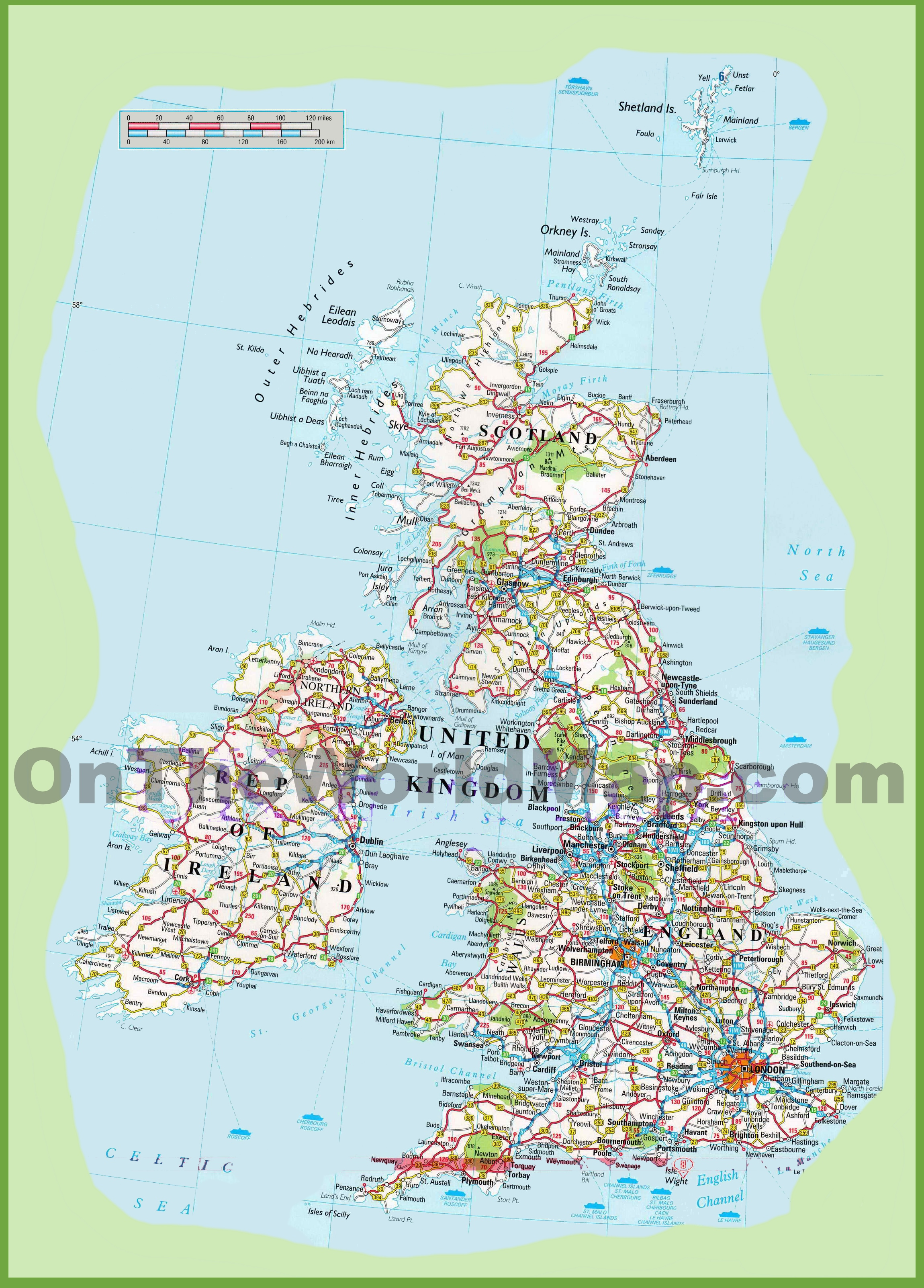 Road Maps Of Uk United Kingdom road map