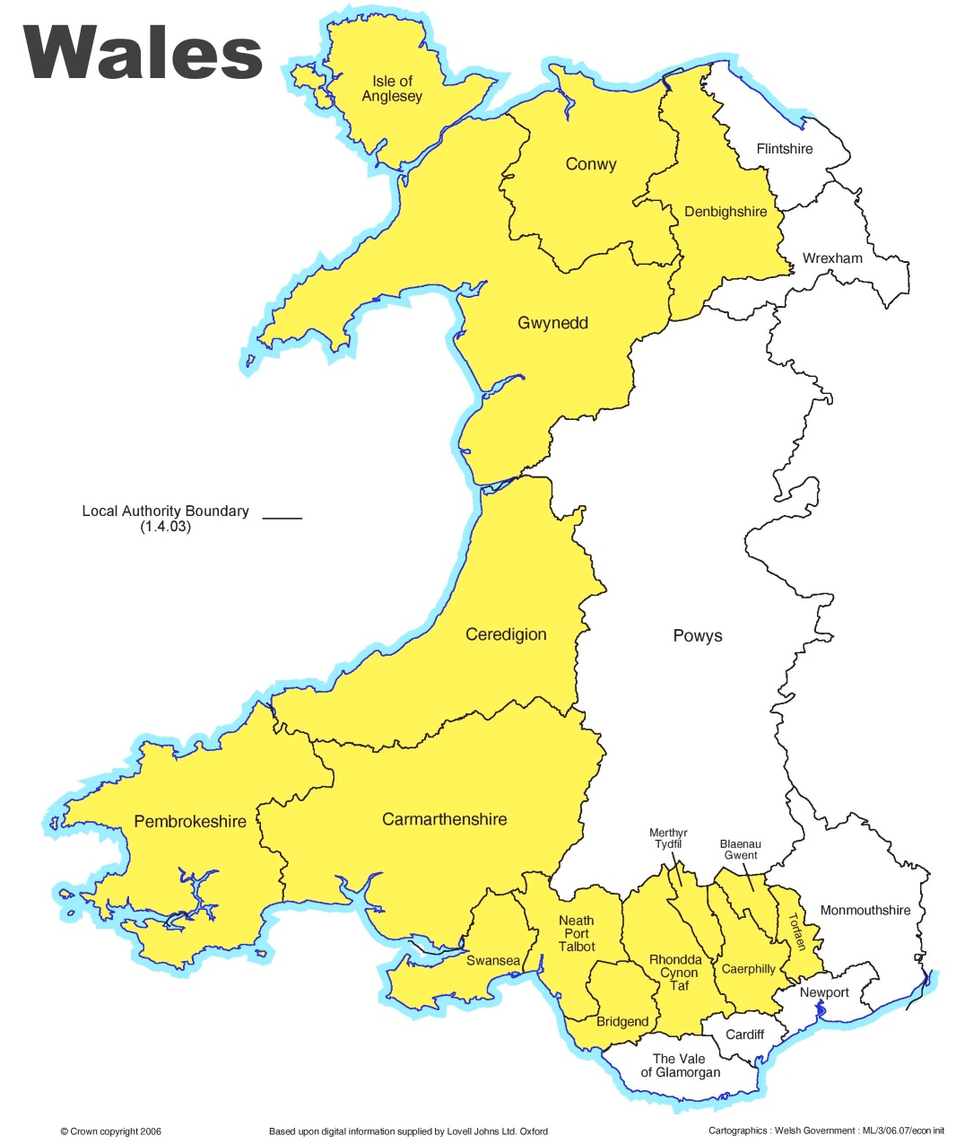 Map Of Wales Administrative divisions map of Wales Map Of Wales
