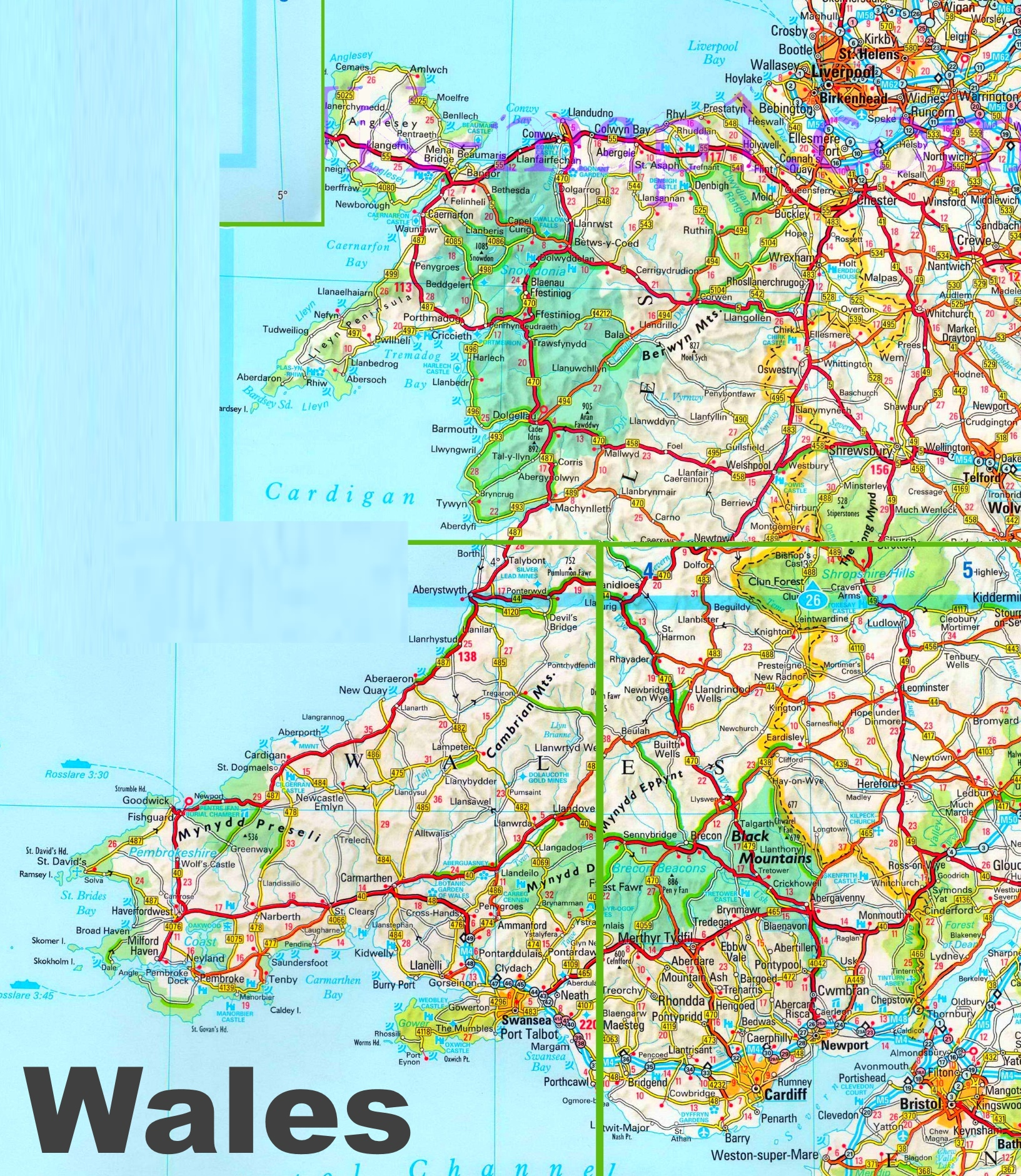 Map Of North Wales Uk Detailed map of Wales