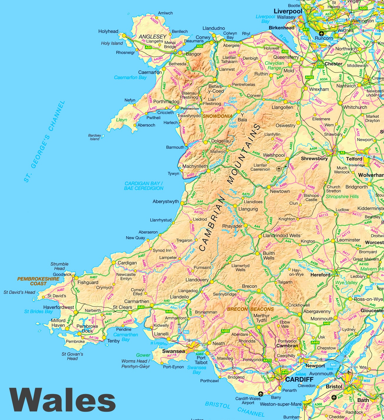 Road Map Of Wales Wales road map Road Map Of Wales