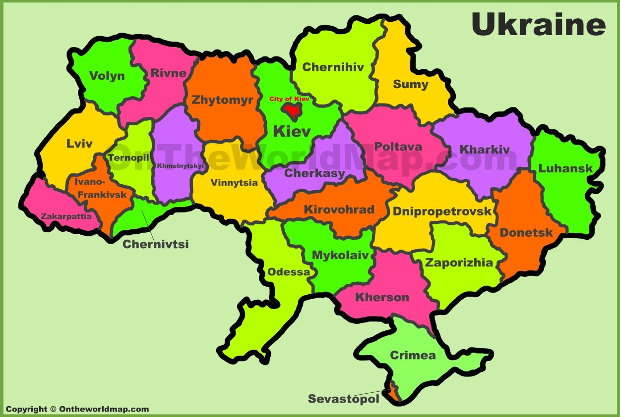 Map Of Ukraine Administrative Divisions map of Ukraine Map Of Ukraine