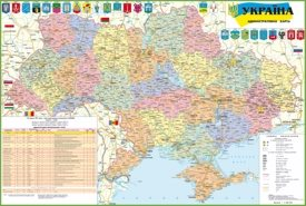 Large detailed map of Ukraine with cities and towns