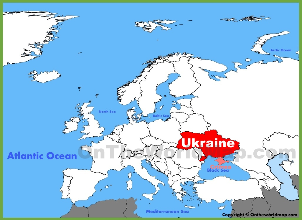 Ukraine location on the Europe map
