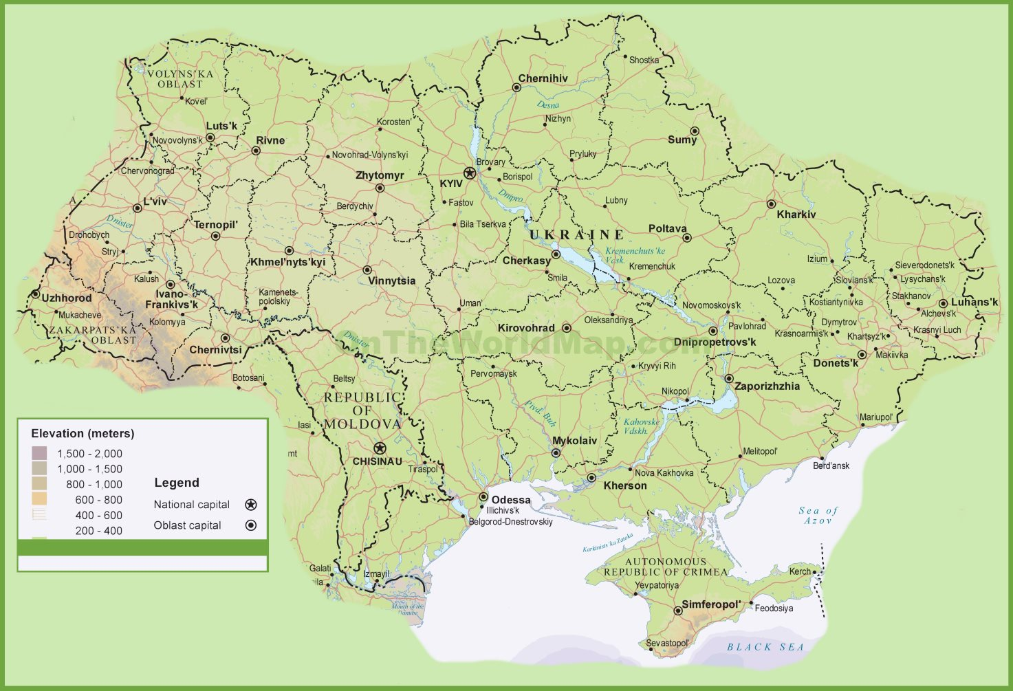 Ukraine physical map ukraine physical map gumiabroncs Gallery