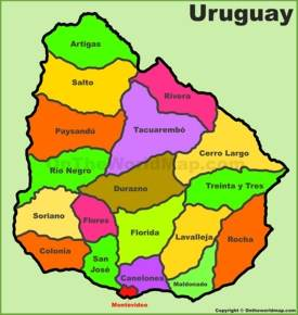 Administrative divisions map of Uruguay