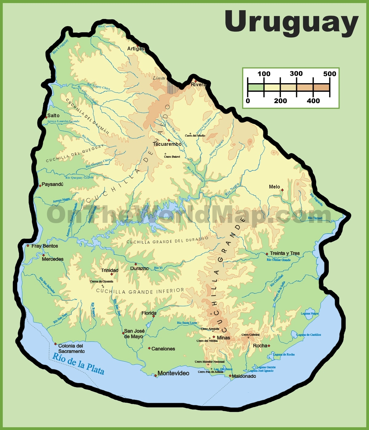 uruguay maps  maps of uruguay - uruguay physical map