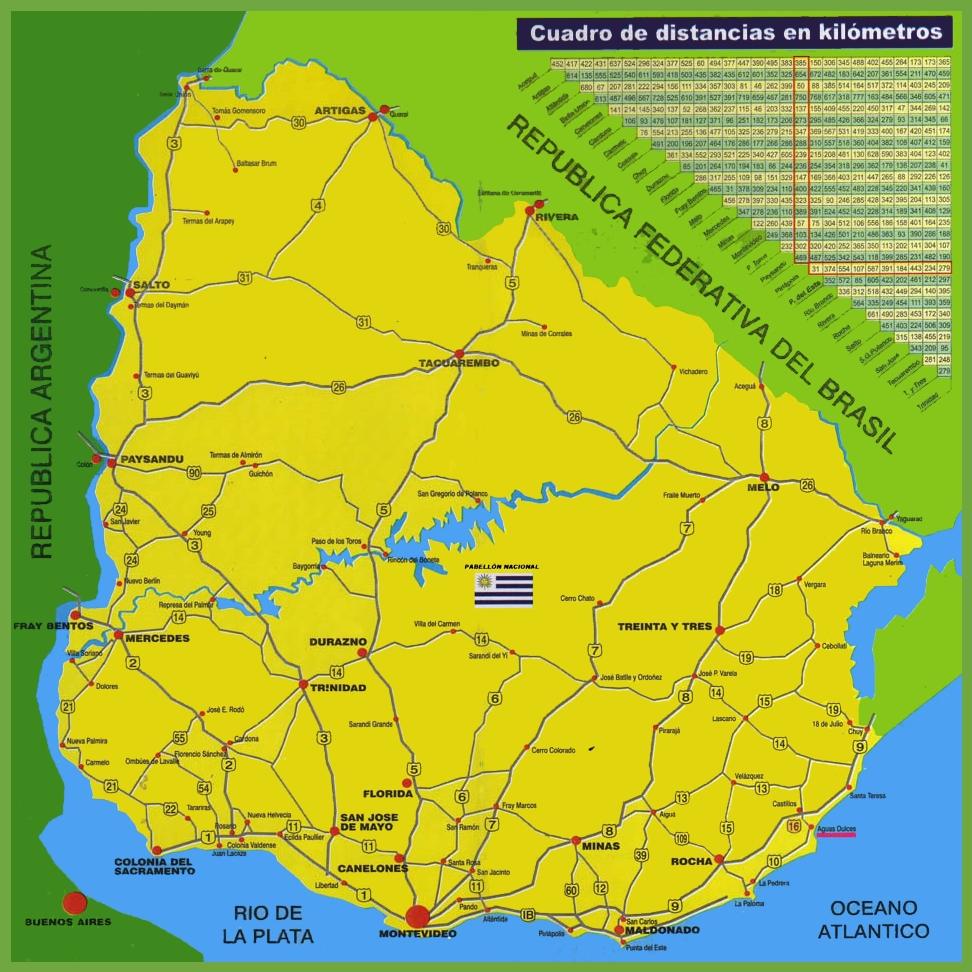 Uruguay Road Map - Uruguay map atlas