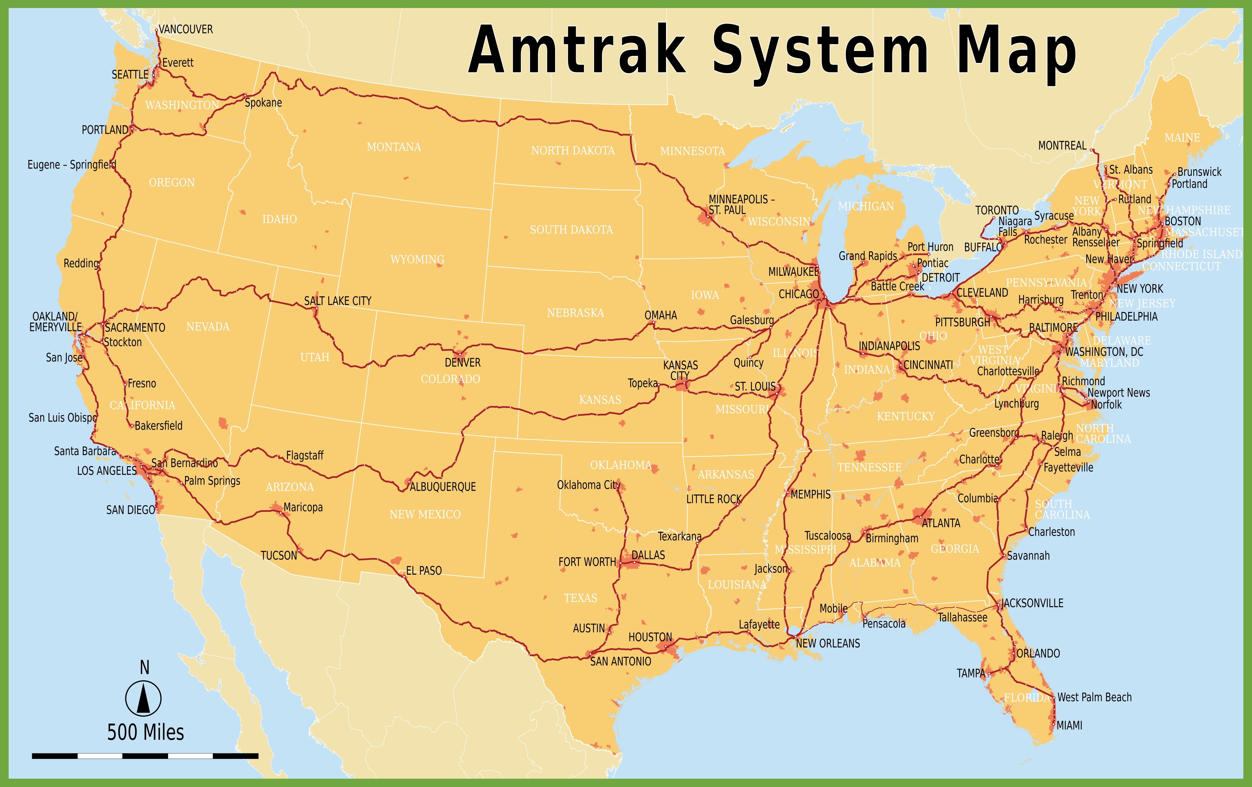 Amtrak Map Usa Amtrak system map