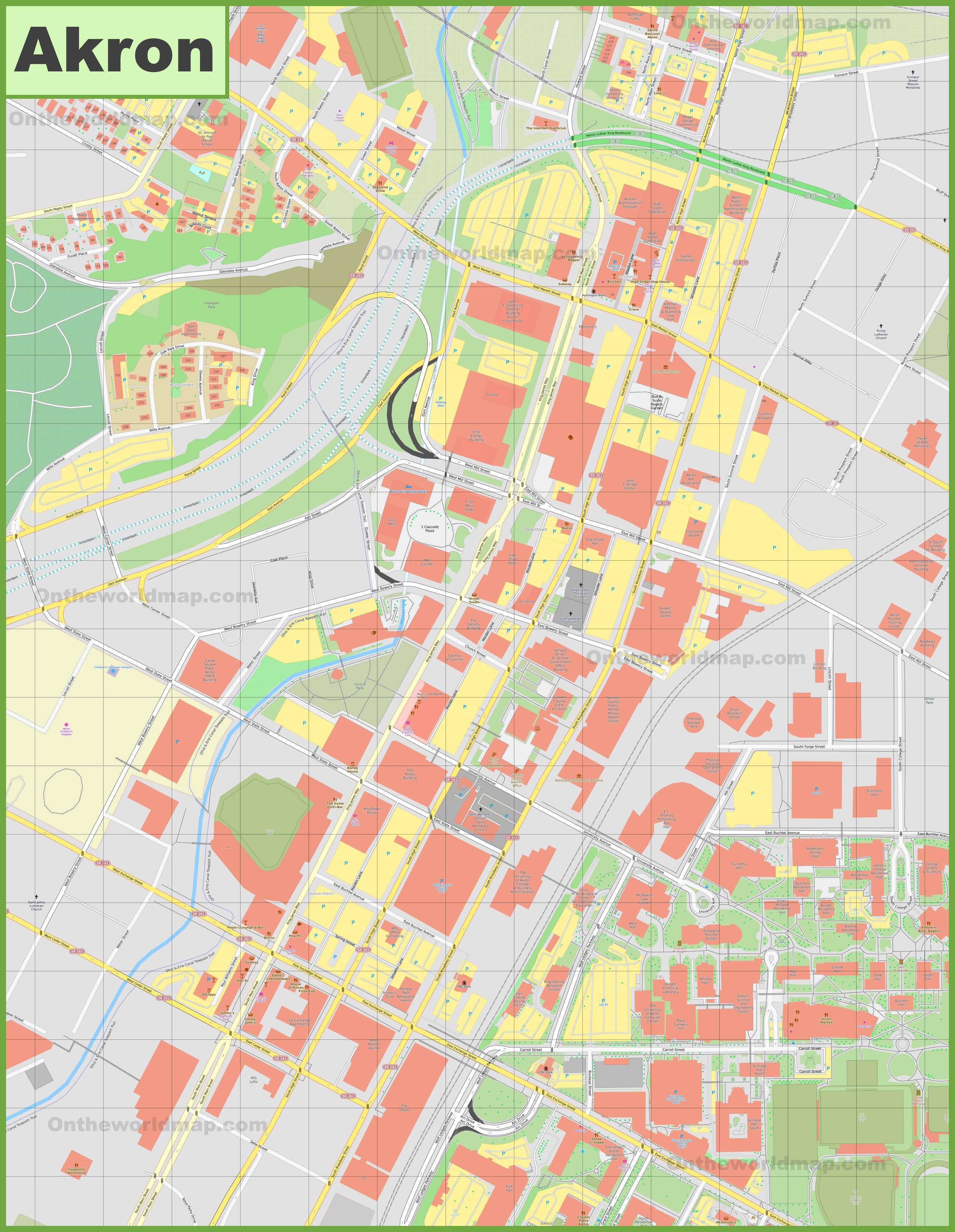 Akron downtown map