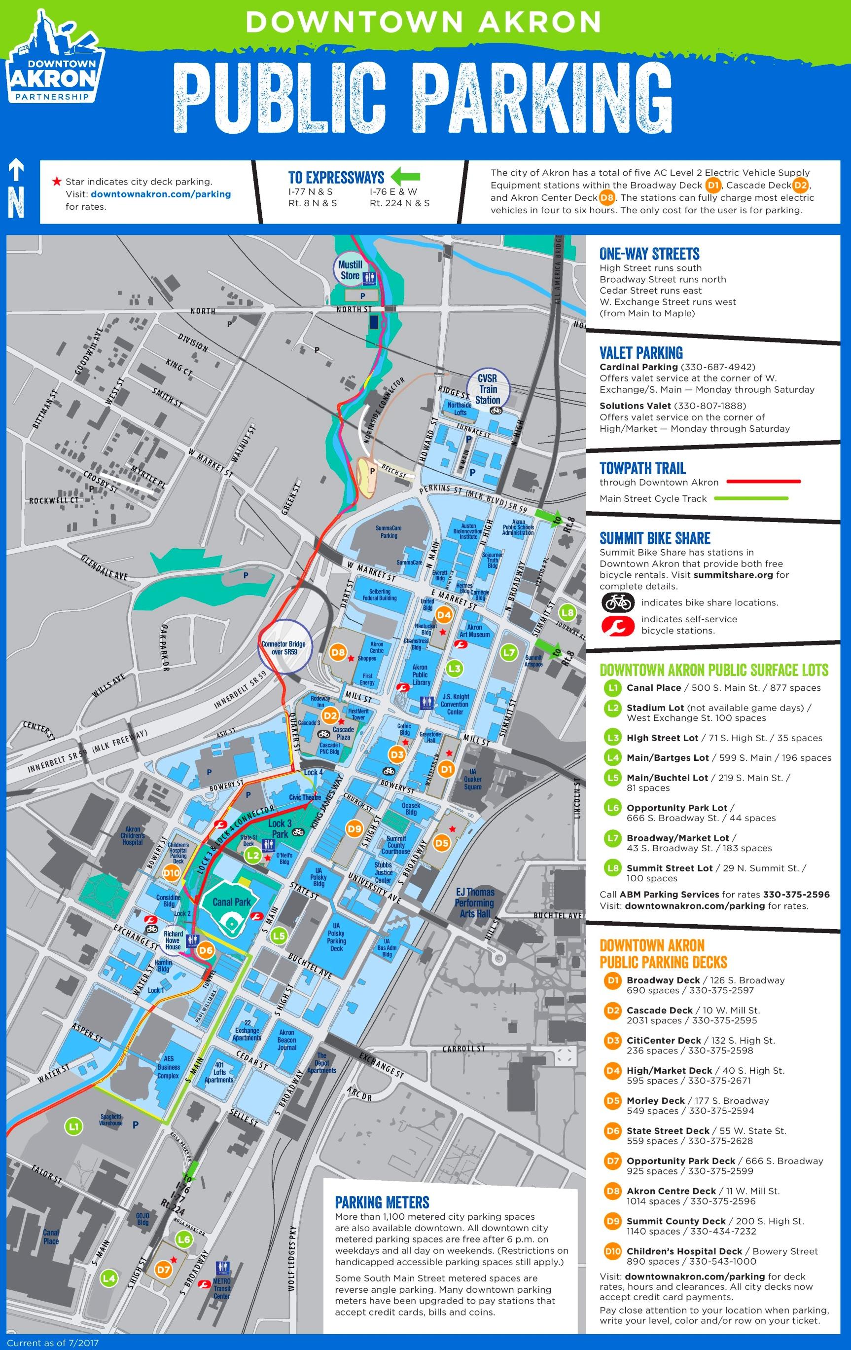 Akron downtown parking map