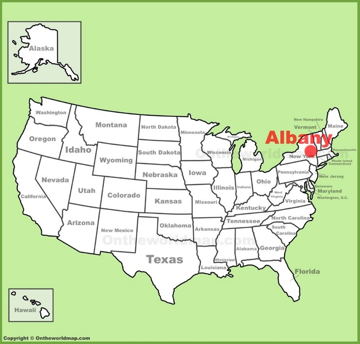 Albany location on the U.S. Map