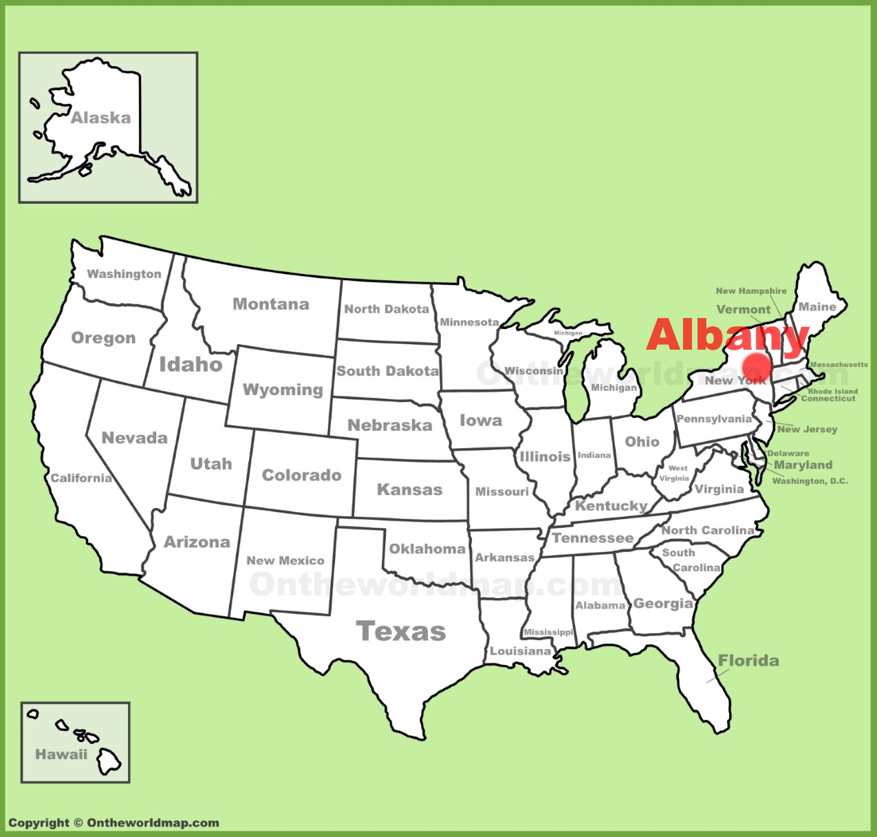 Albany location on the US Map