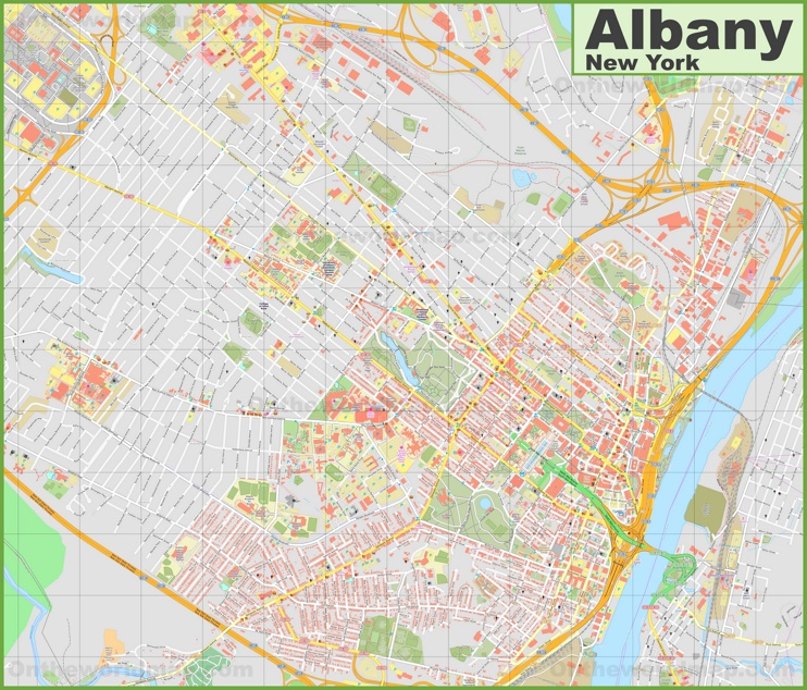 Large detailed map of Albany