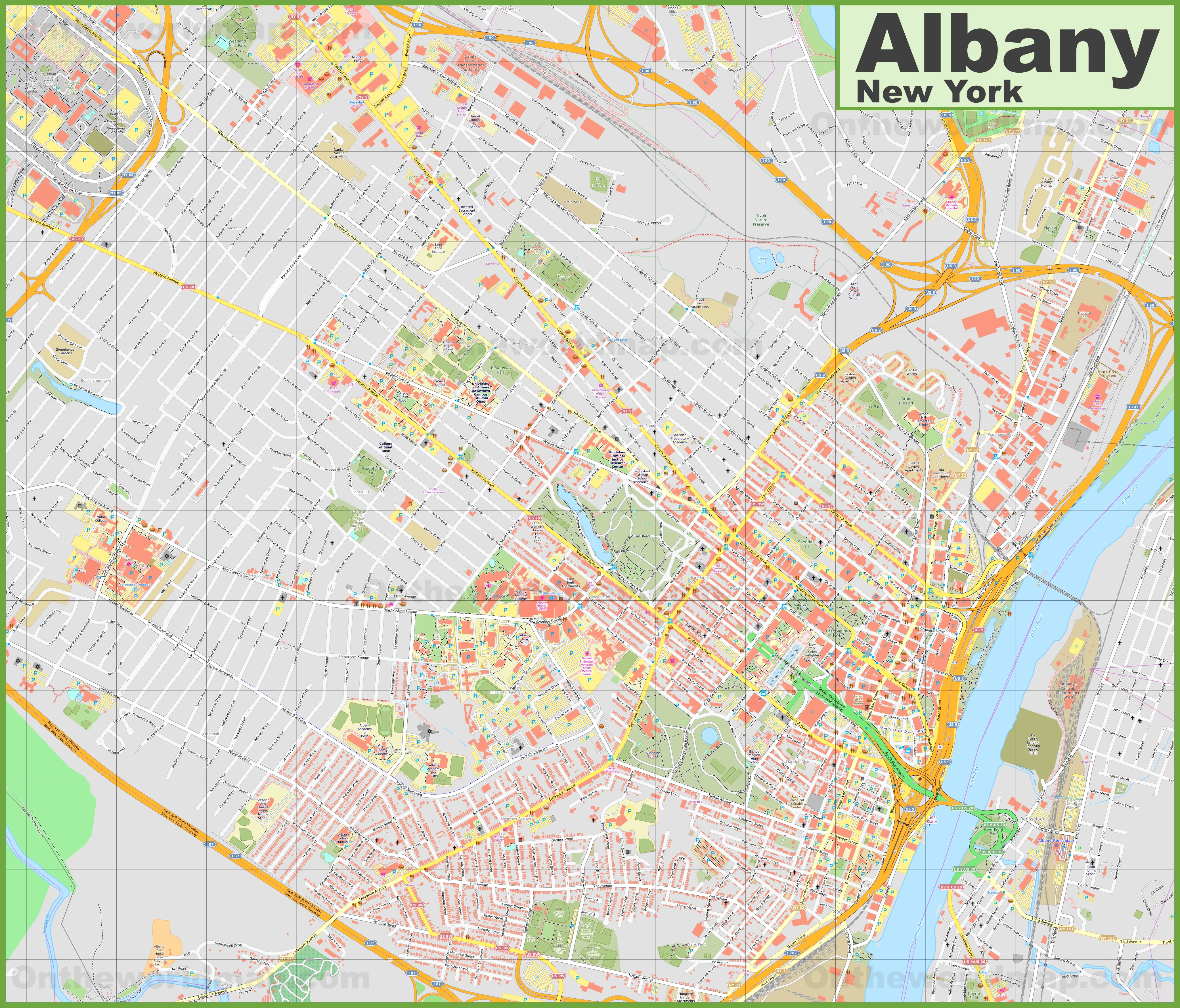 Map Of Albany Large detailed map of Albany