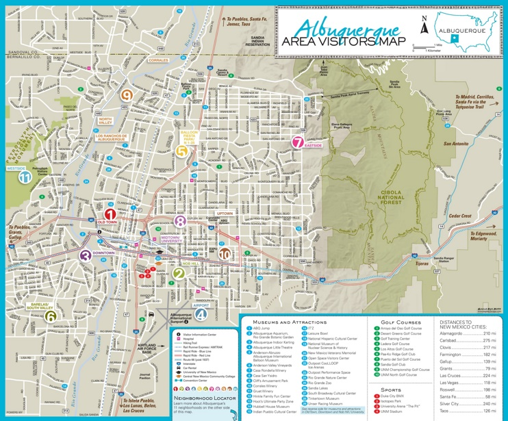Albuquerque area tourist map