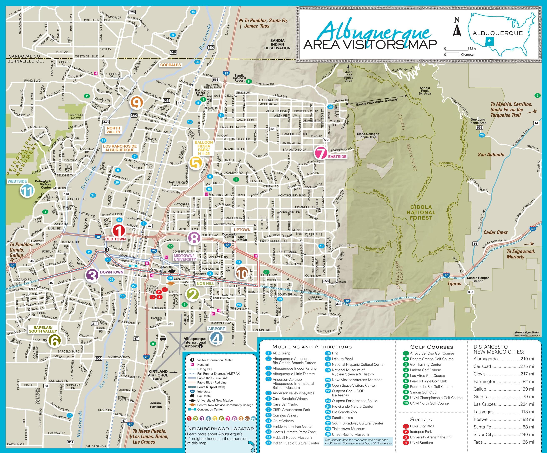 Map Of Albuquerque Albuquerque area tourist map Map Of Albuquerque