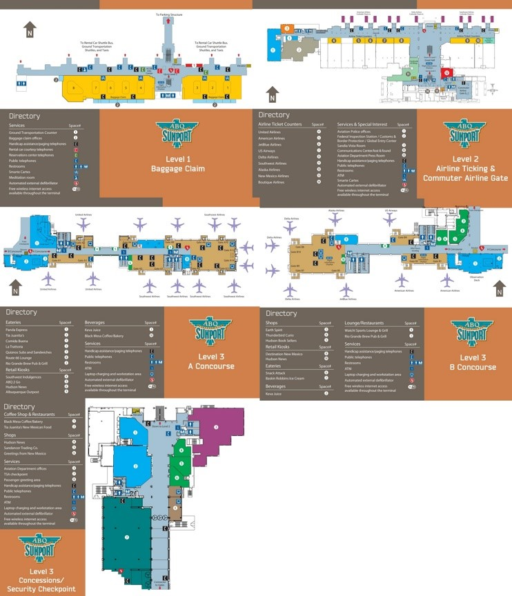 Abq Airport Map Albuquerque International Sunport map