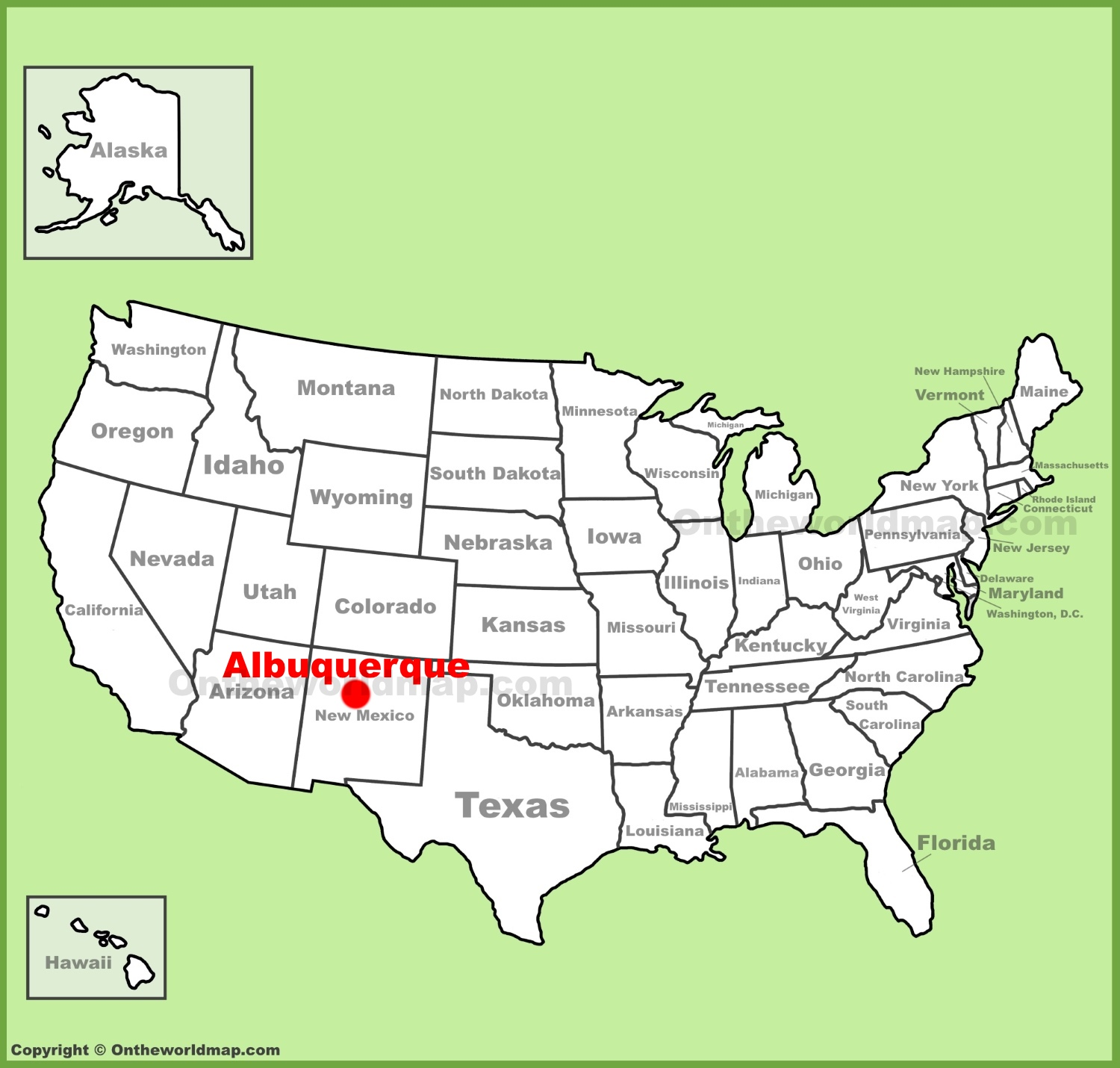 Albuquerque location on the U.S. Map