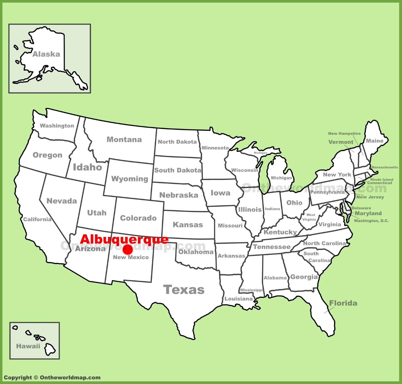 Map Of Albuquerque Albuquerque location on the U.S. Map Map Of Albuquerque