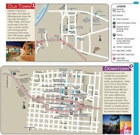 Albuquerque old town and downtown map