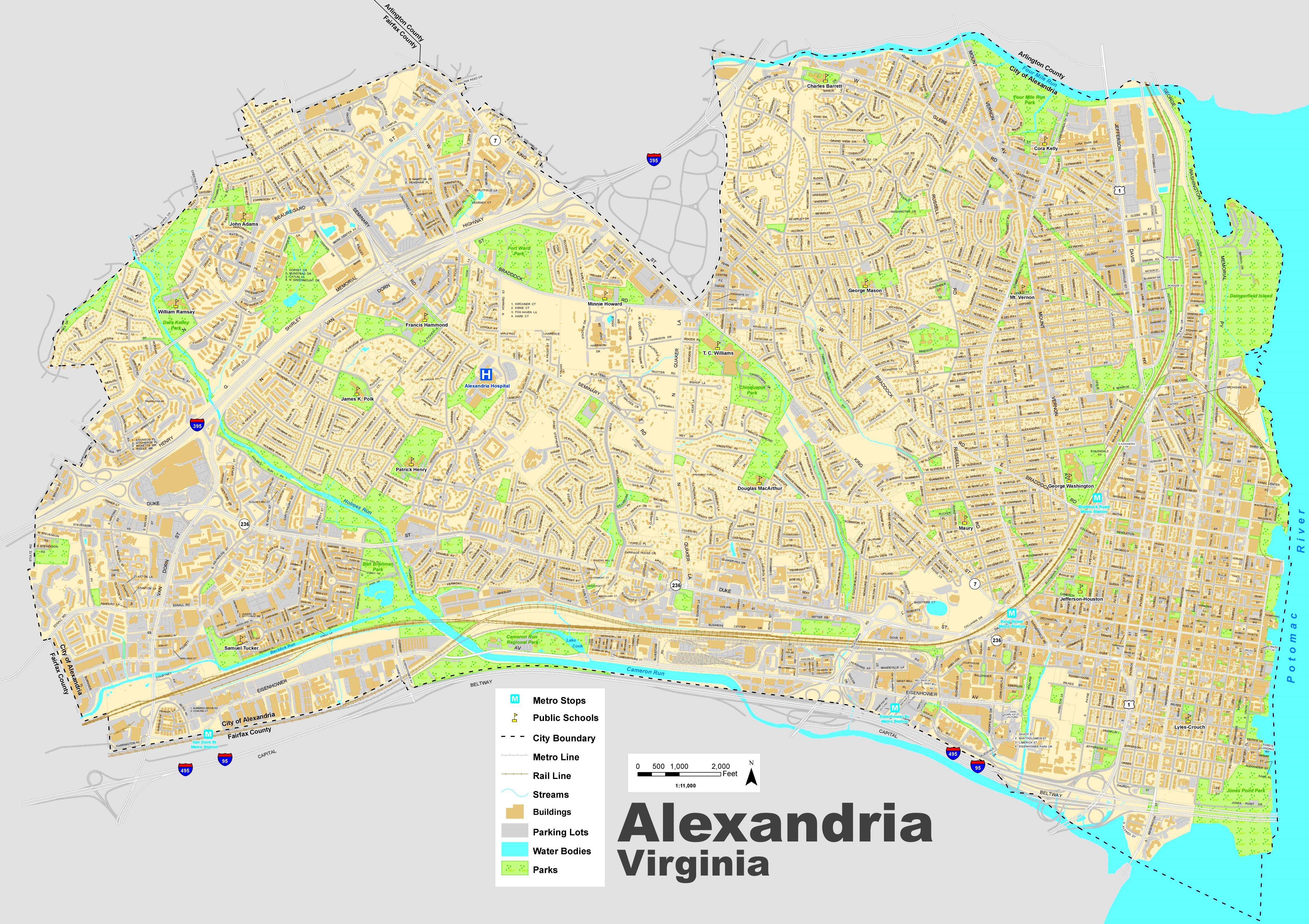 Alexandria Maps Virginia US Maps Of Alexandria - Virginia on a us map