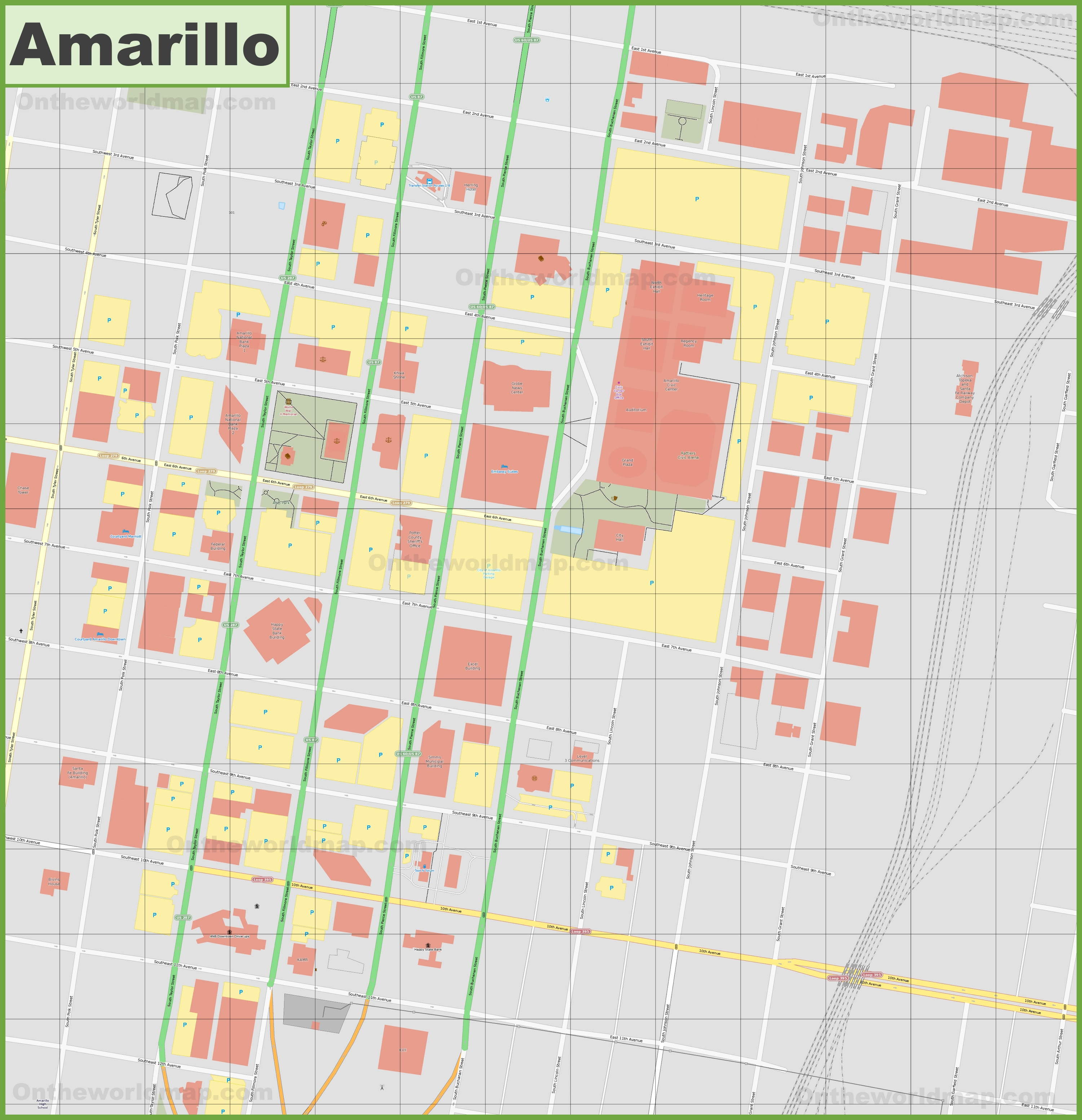 Amarillo downtown map