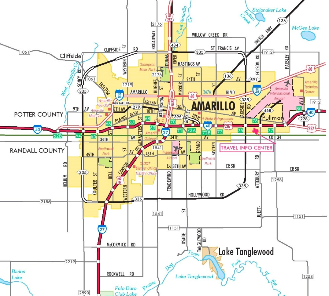 Amarillo Tx Map Amarillo road map